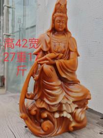 寿山石手工雕刻佛像一尊,雕刻精致,开脸慈祥,包浆均匀,细节如图