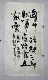 """赵鹏  尺寸  138/68  托片  字广厦,号瑞丰轩主,1959年9月30日生于陕西渭南。其父是一个地道的关中农民,其本人也是一个标准的""""关中大汉""""。在书画作品中他常用""""秦人""""或""""关中一人""""的题款自称,以示不忘生养了他并赐予他艺术天赋的故土。他离乡二十余年,但乡音未改。有朋友戏称,他的语言习惯与其好友、同乡陈忠实的《白鹿原》里的什么人很相像,意思是说,他有一种倔强、独立的个性。"""