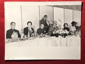 邓小平、卓琳、方毅、杨振宁 等人与外国友人合影老照片一枚(20*15.5cm)