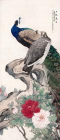 刘奎龄-上林春色图。孔雀。纸本大小52*121厘米。宣纸艺术微喷复制。160元包邮