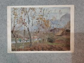 老旧油画 乡村公交 原稿真迹 著名老画家 西安美院高材生作品