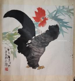 著名画家 蜀中画鸡人 谭昌镕 雄鸡一唱天下白 84年老旧镜片 原稿手绘真迹 永久保真