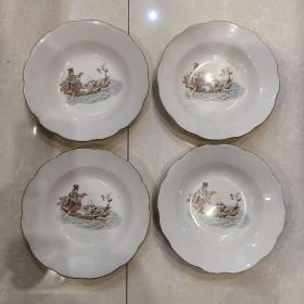 唐山美术瓷盘4个一起