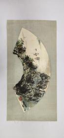 【郭公达】精品山水画扇面小品一幅,原装旧裱,镜片,装裱后的尺寸27厘米/54厘米,自然老旧,喜欢的私聊