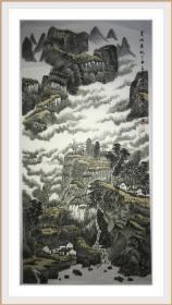 穆春生四尺整山水作品,老作品,保真纯手绘。