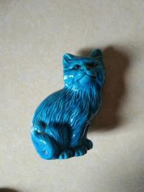 蓝釉瓷猫一只