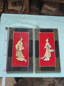 两片木板,嵌石雕美女,手工雕刻绘画