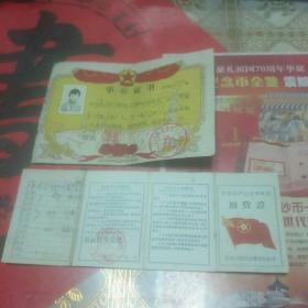 证件收藏――(1)1964年中国共产主义青年团团费证,(2)1987年洛阳市偃师李村中学毕业证,共计两本,保真包老,保存完好(客厅红色医药箱里)