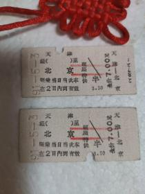1991年5月3号天津—北京的火车票,两张合售