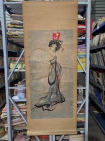 未落款,仕女图。纯手绘,1979年作品,轴头写有 小石,不确定是不是傅小石