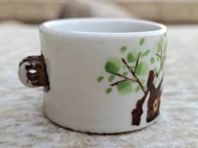 景德镇手绘老瓷鸟食罐,尺寸图如图,全品