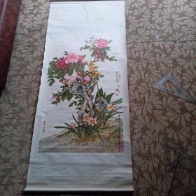 牡丹鸽子(国画)挂画黄显隆作品挂画