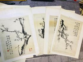 民国(1946年)文人画稿梅花图7幅,雅致精美,两幅品相有瑕疵,保真
