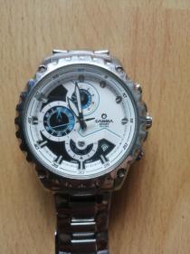 卡斯曼男士运动手表,石英表,夜光,多功能表,钢带,男士表,编号8203白色