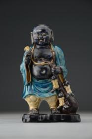 珐华,明代珐华彩孔雀蓝釉童子戏弥勒人物造像