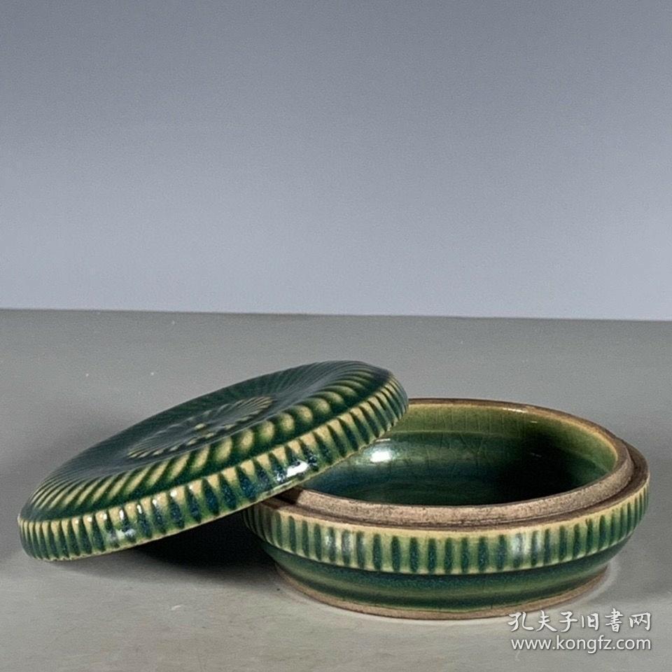 越窑青釉印泥盒