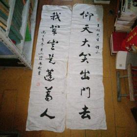 安徽歙县著名书法家,歙县书法家协会首届主席。(蒋凤起)书法对联,软片