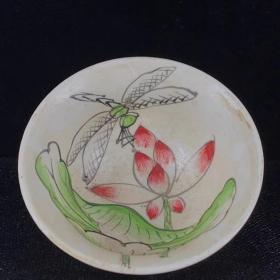 定窑白釉花卉茶杯