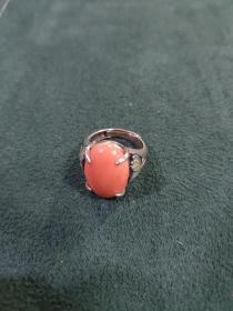 早期纯银烤蓝戒指(6.1克)戒面尺寸1.8厘米✘1.3厘米
