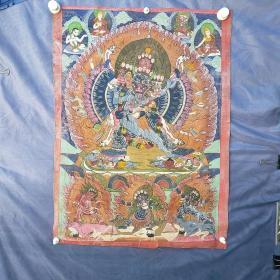 西藏老唐卡  背面有款  请看图