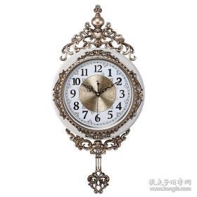 白金纹北极星挂钟欧式金属盘摇摆静音客厅卧室个性创意时尚装饰石英钟表
