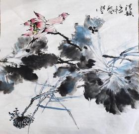 刘畔丁,可合影,四尺斗方 花鸟
