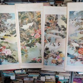 年画四条屏 :松鹤延年1-4(1984年天津杨柳青画社1版1印 )
