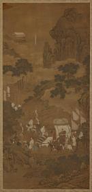 许道宁 蜀山行旅图轴。 纸本大小51.21*105.84厘米。 宣纸艺术微喷复制。