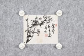 回流字画 回流书画《梅花小品》庭前夜色寥。白梅园,钤印:云中仙、东岳;日本回流字画 日本回流书画