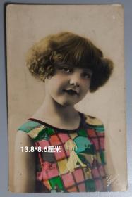 【民国时期老照片 外国可爱小女孩 明信片式照片】