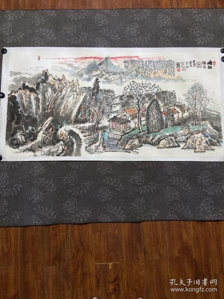 李可染再传弟子李刚大师山水国画 四尺整张8平尺