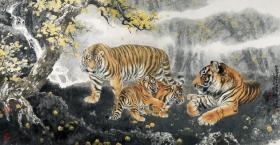老虎  冯大中 林泉之乐。纸本大小60.2*115.97厘米。宣纸艺术微喷复制。