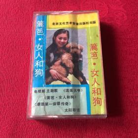 磁带 篱笆 女人和狗