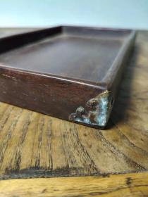 老红木文呈盘一件、品相完好 做工精细、包浆浑厚、上百年的文房传世物件、是收藏把玩的不错藏品