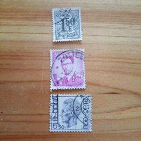 外国邮票 比利时信销邮票3枚(乙16-4)