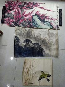 手绘  3幅画合售,(尺寸不一,大的95 x 48,最小的45 x 35)