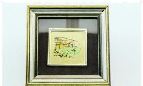 【西洋银器 古董收藏 系列之二 19xx年意大利Morbidoni pellegrini产金箔画】
