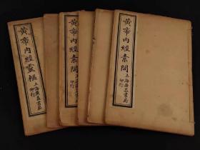 清代晚期  中医学名著《黄帝内经》,全套六本 共36卷,含素问24卷丶灵枢12卷,完整无缺页。其书奠定了人体生理、病理、诊断以及治疗的认识基础,是中国影响极大的一部医学著作,被称为医之始祖。