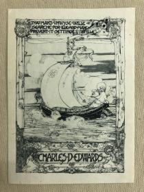 英国早期线刻版藏书票,乘帆船的姑娘,苏格兰著名女插画家杰西金新艺术精品之作,Jessies M. King藏书票一枚,japan paper印制,带双侧保护套