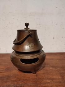 带温酒炉 老铜壶一套 带铜炉子 做工精细 品像一流 全品  正常使用  收藏使用佳品