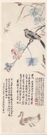 花鸟画,齐白石 花鸟。纸本大小36.67*104.68厘米。宣纸艺术微喷复制。