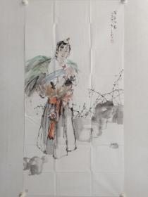 保真书画,中国工笔画学会理事,辽宁省工笔画协会副会长,辽宁画院专职画家,王宓四尺整纸人物画《草原深处》一幅137×70cm。