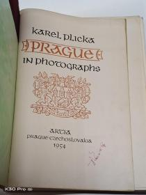 Karel Plicka PRAGUE IN PHOTOGRAPHS(1954年外文原版图片集)