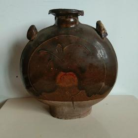 酱釉穿带壶扁壶扁瓶