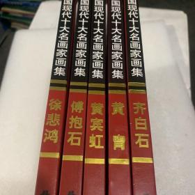 中国现代十大名画家画集 徐悲鸿、齐白石、傅抱石、黄宾虹、黄胄(5本合售)