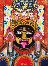 """尼泊尔传统手绘布本唐卡-【扎基拉姆】主尊宝相传神,天然矿石颜料着色晕染,纯金勾线,画工细腻,尺幅:60*40cm左右。""""扎基拉姆"""",是拉萨城护法神""""吉祥天母""""的世间化身,""""拉姆""""在西藏又被译为仙女。她不但可以求财,而且还可以求子、求平安、求病愈等等,女神都会大显神通,帮助有求与她的人。"""