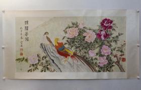特惠,保真书画,蔡云汉精美工笔花鸟画《锦绣前程》一幅,原装裱镜心,尺寸85.5×167cm,有折痕。惠价800元顺丰包邮。