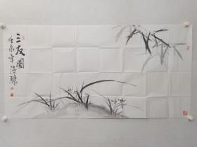 保真书画,北京名画家,温骧《三友图》四尺整纸国画一幅,尺寸69×137cm,软片。