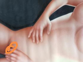 美女出浴图油画,无签名,手工画,80x50Cm
