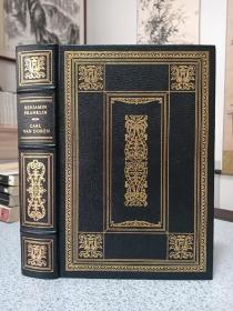 1983年,英文原版,真皮刷金顶级精装好品,富兰克林传记,benjamin franklin,富兰克林图书馆Franklin library出版